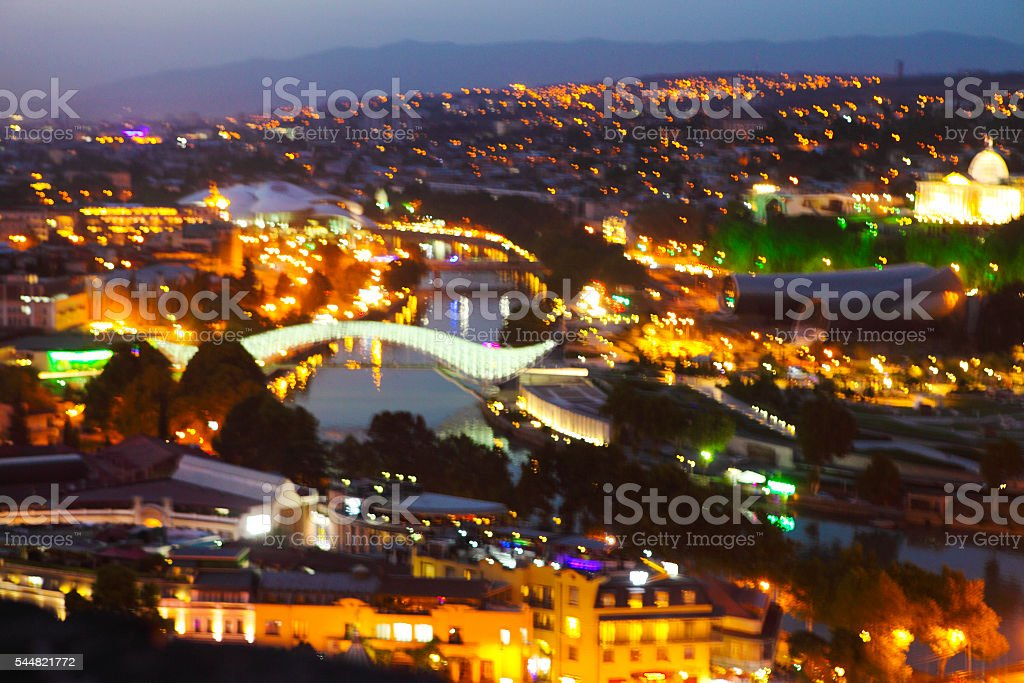 Night view to Old town of Tbilisi, Georgia (country) stock photo