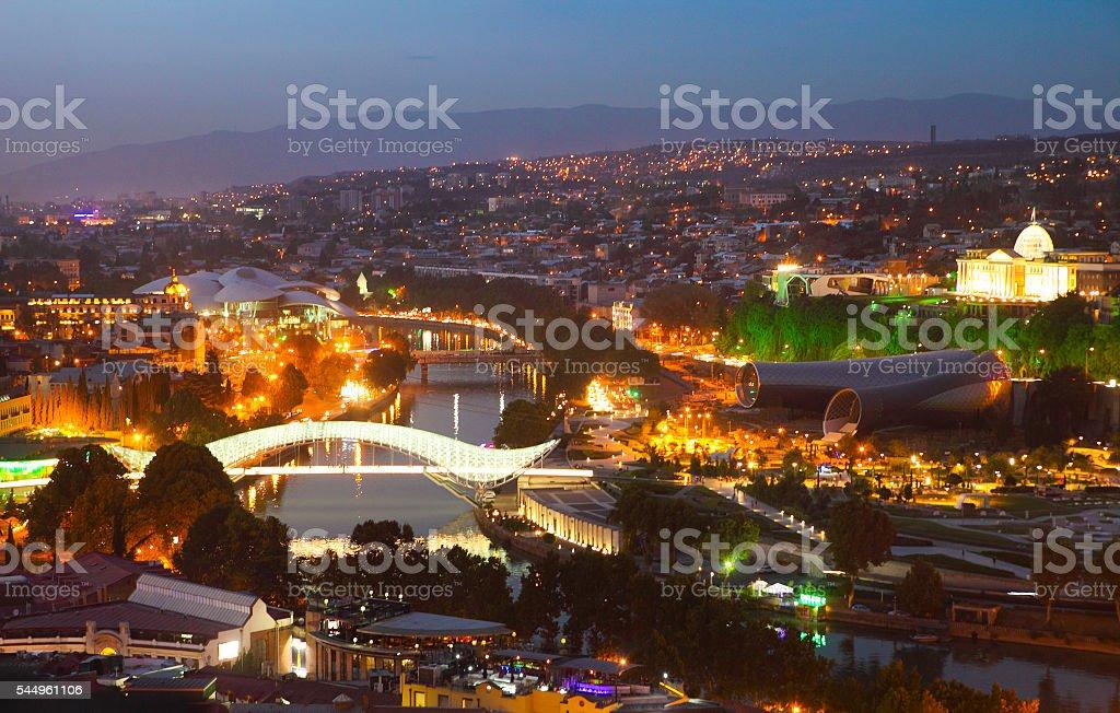 Night view to Old town of Tbilisi, Georgia stock photo