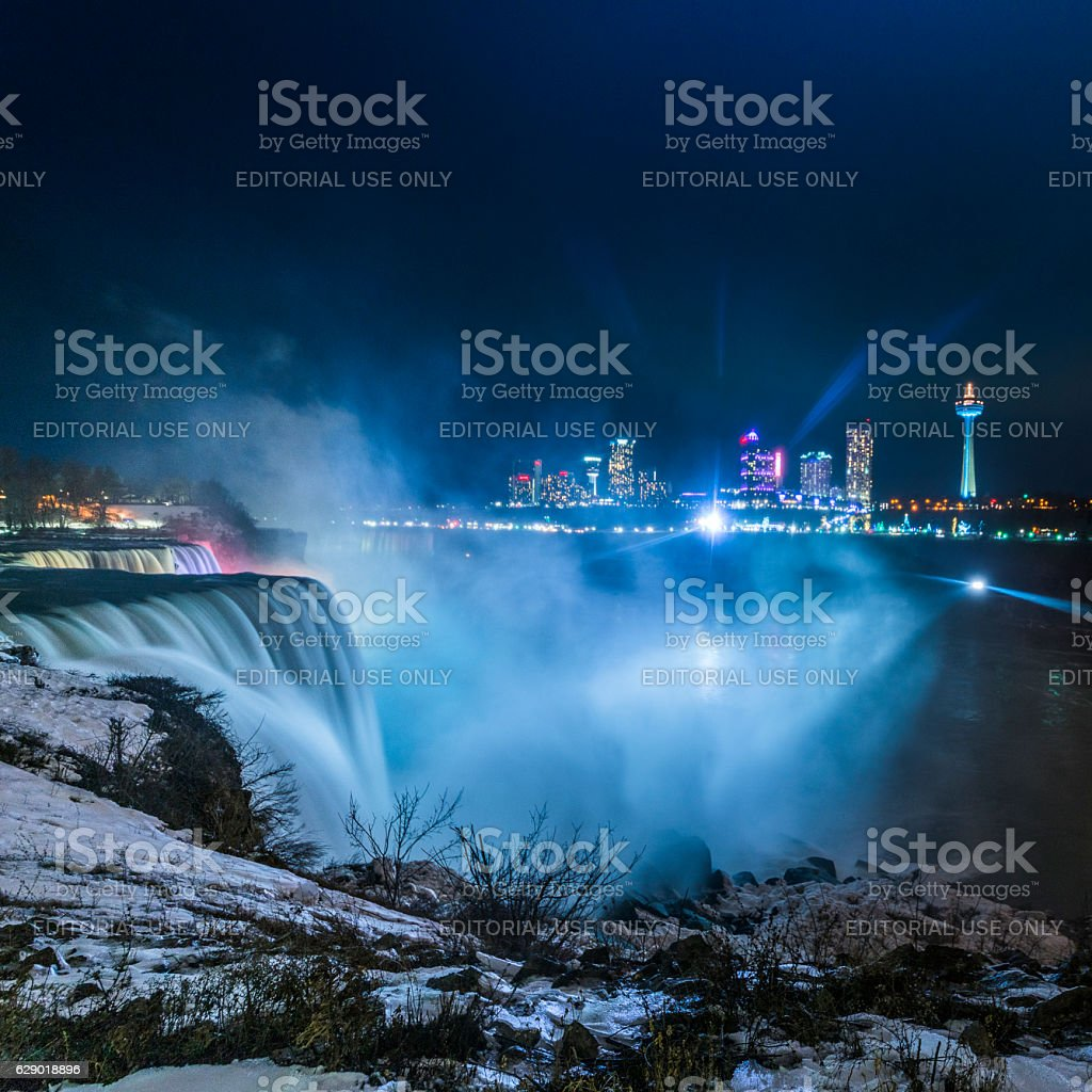 Night View to the Niagara Falls from the USA side. stock photo