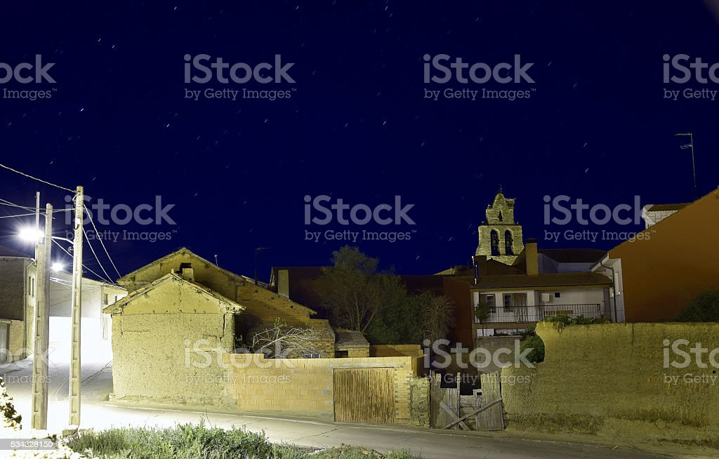 Night view village Maire de Castroponce (Zamora) stock photo
