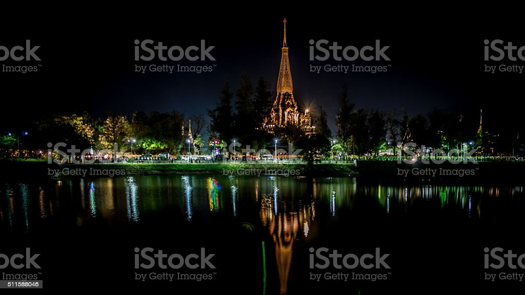 Night View Wat Chalong (Wat Chaiyathararam) Thai Temple, Phuket, Thailand stock photo