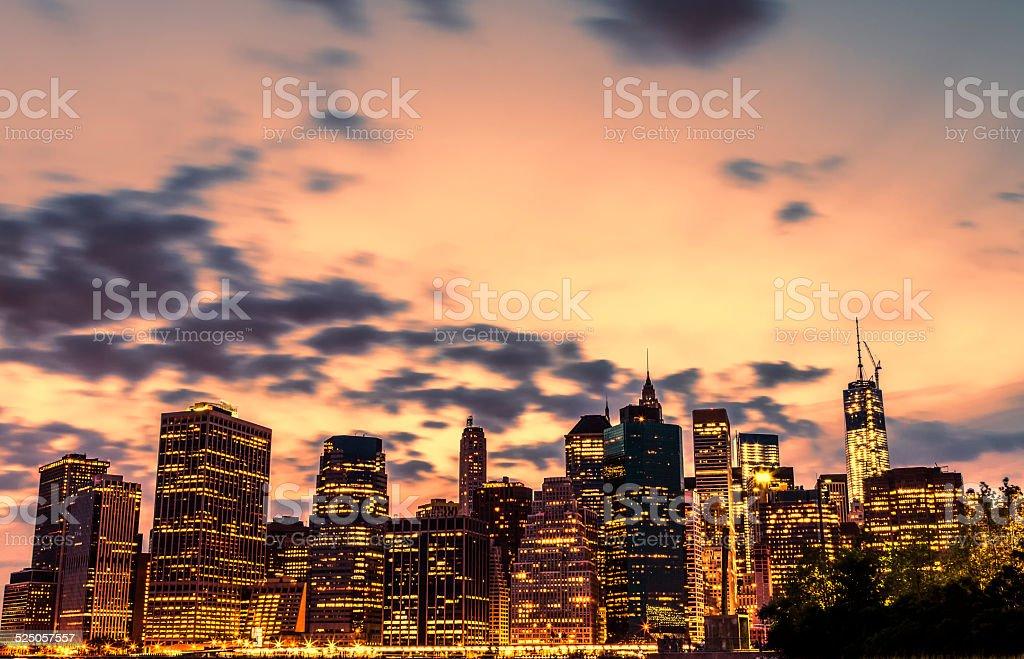 Night views of New York City stock photo