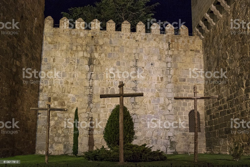 night views of the medieval walled city of Avila stock photo