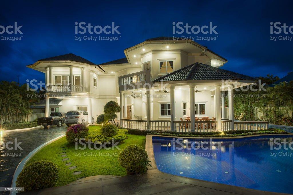 Night villa stock photo