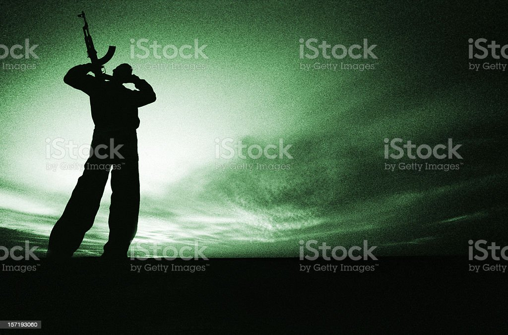 night vision   armed fighter royalty-free stock photo