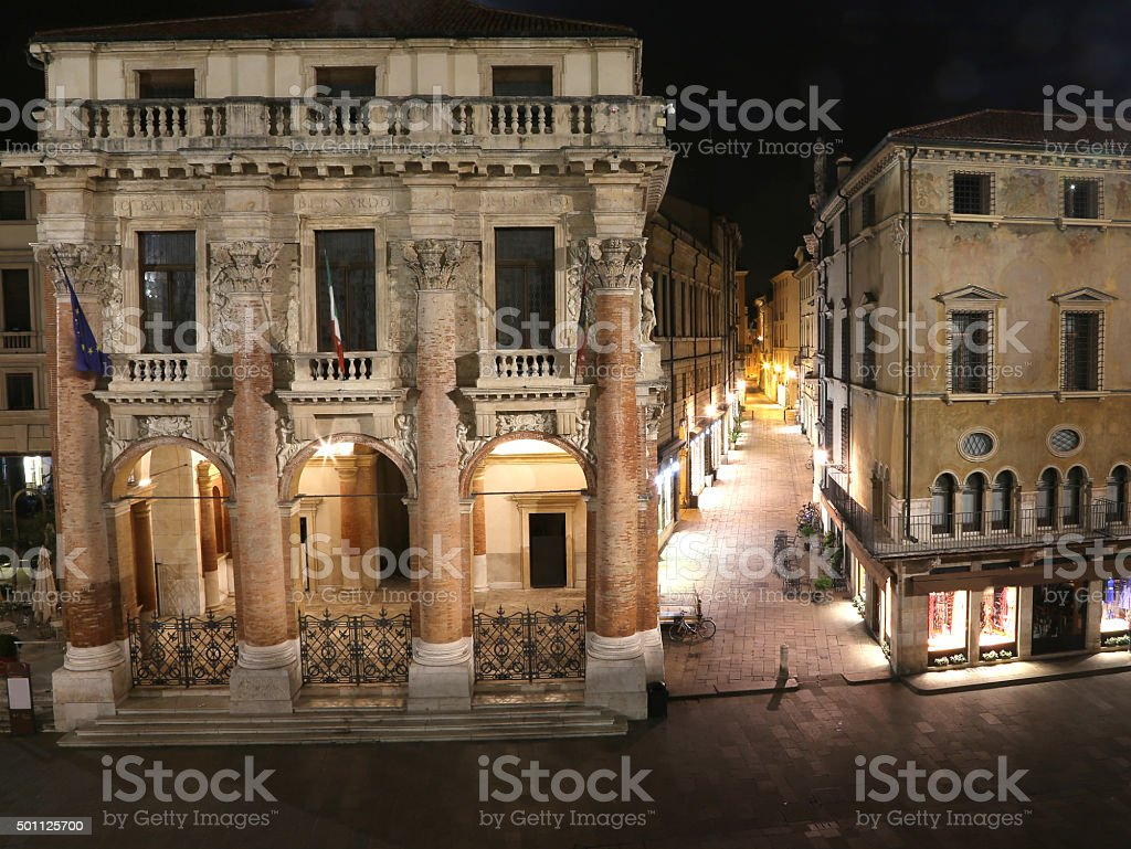 Night vision of the main square of Vicenza stock photo