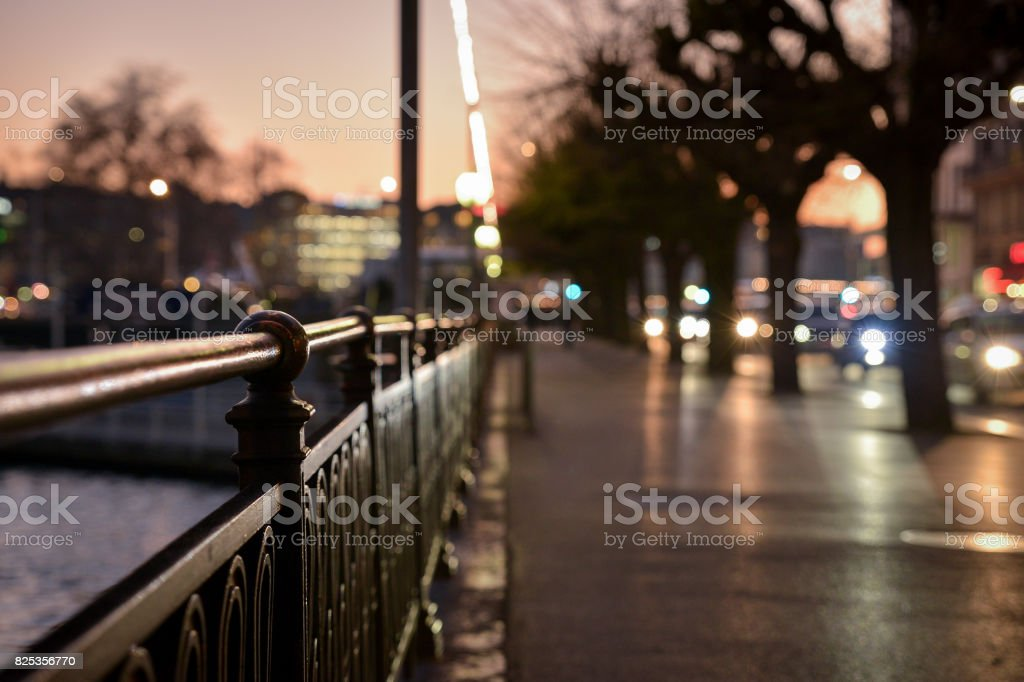 Night walk in a big city stock photo