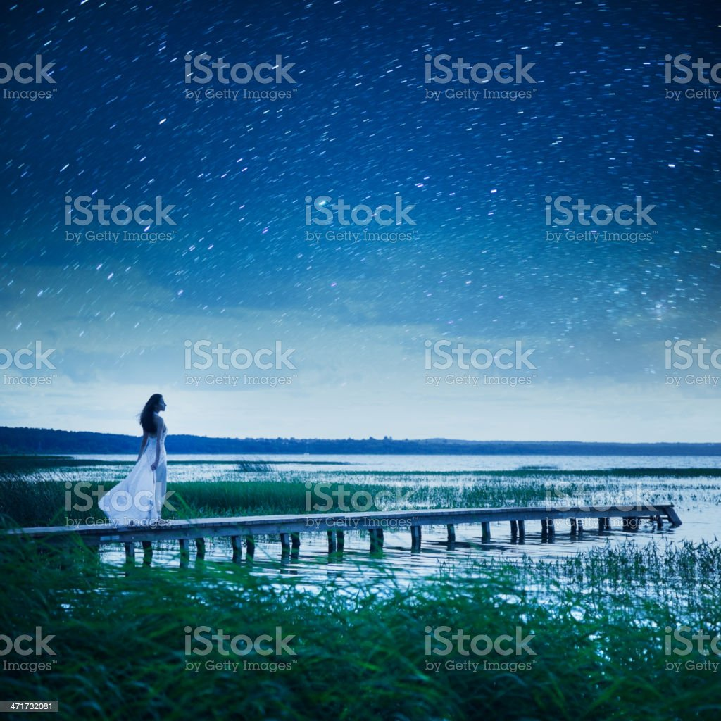 Night walking stock photo