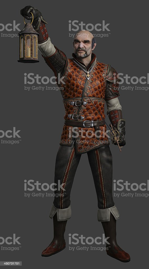 Night Watchman with Lantern and Sword royalty-free stock photo