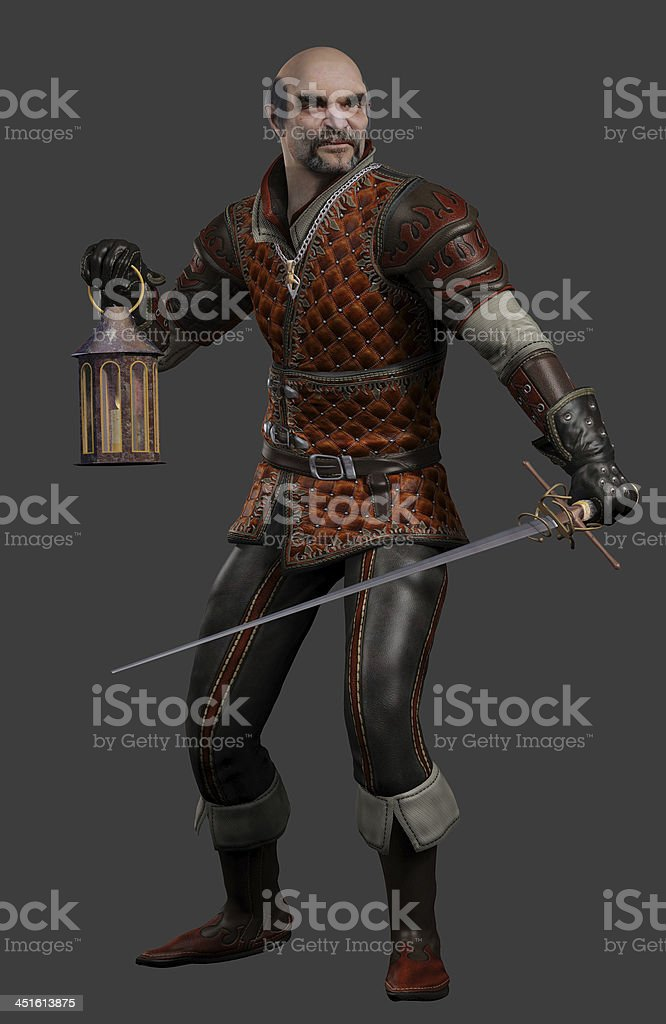 Night Watchman with Sword and Lantern royalty-free stock photo