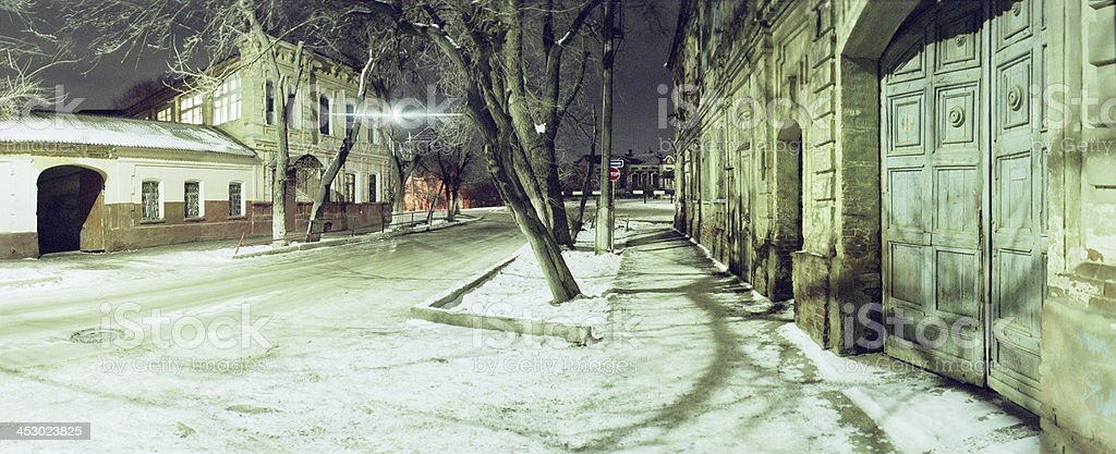 Night, Winter, Old Houses. stock photo