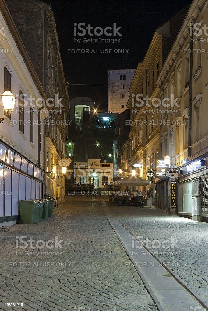 Night Zagreb street royalty-free stock photo