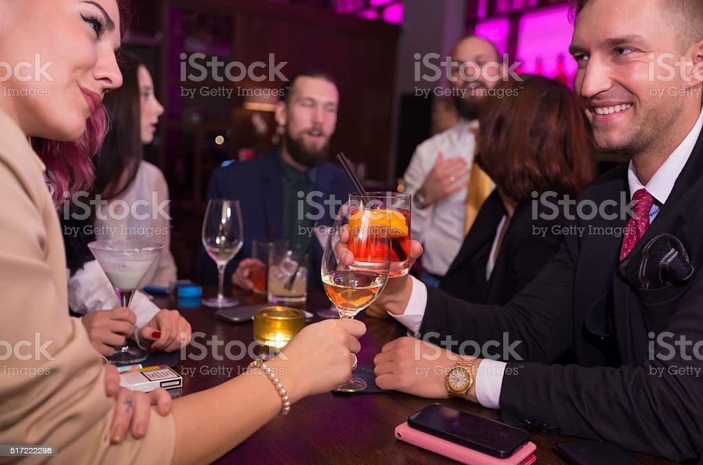 Nightclub toast stock photo