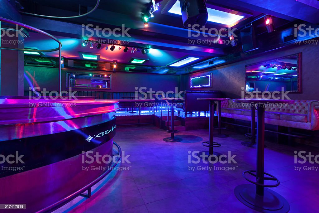 Nightclub with colorful lights stock photo
