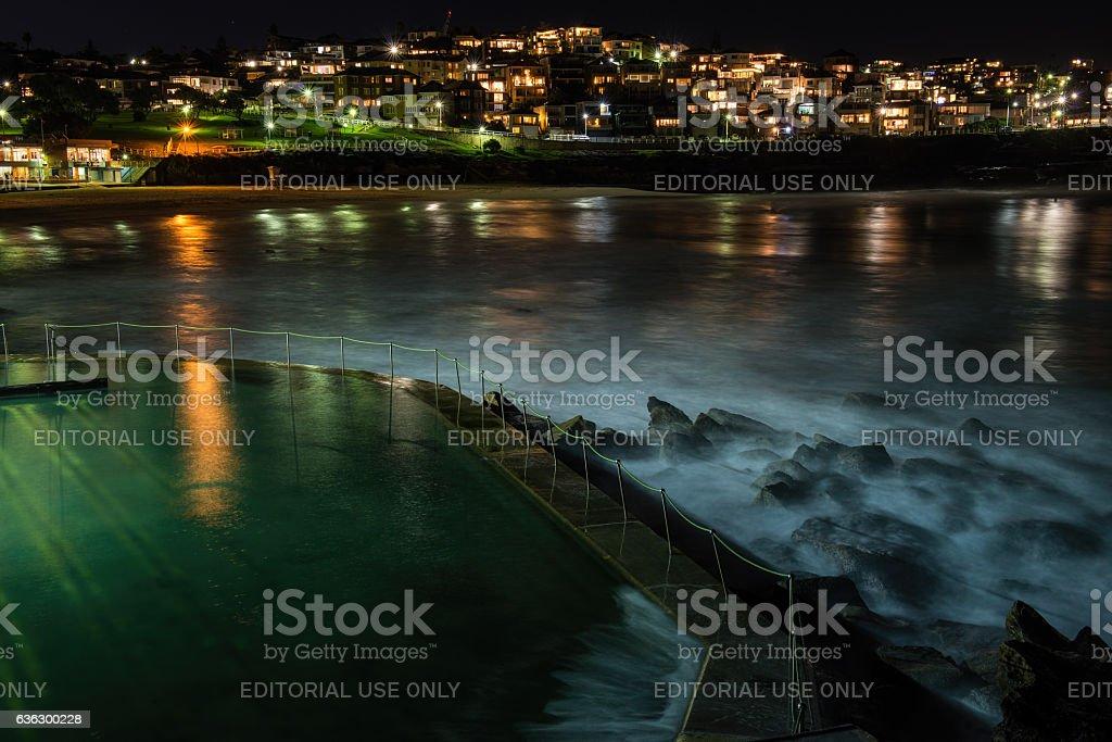 Nightfall at Bronte Baths, Sydney, Australia stock photo