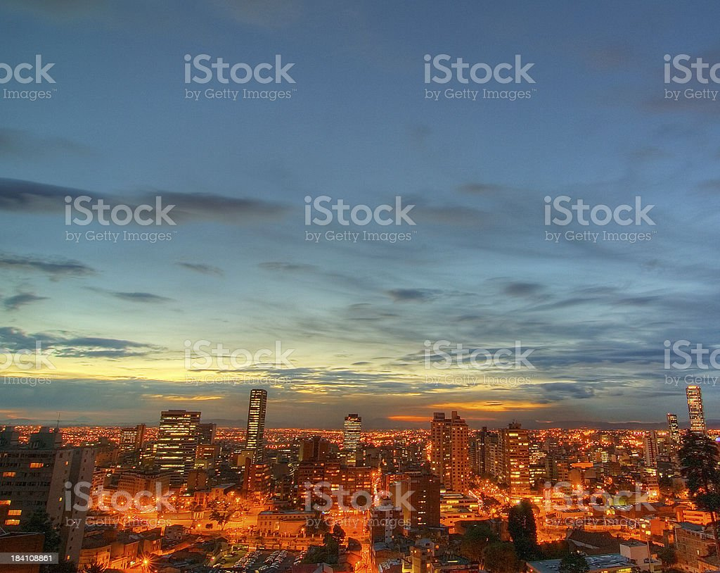 Nightfall in Bogotá stock photo