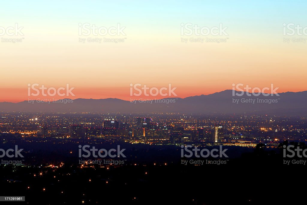 Nightfall in Irvine California stock photo