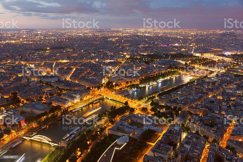 Nightfall in Paris stock photo