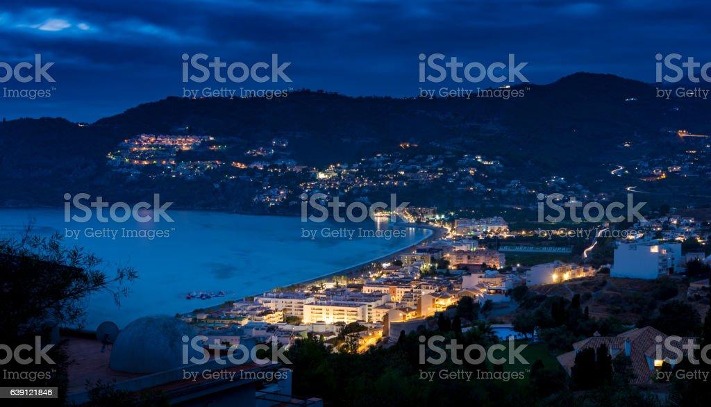 Nightfall in the Bay of La Herradura, Granada. stock photo
