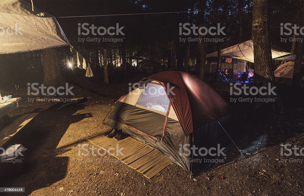 Nightfall in the Campground stock photo