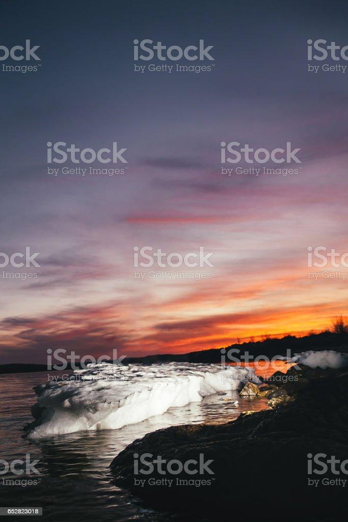 Nightfall Lake Nature stock photo