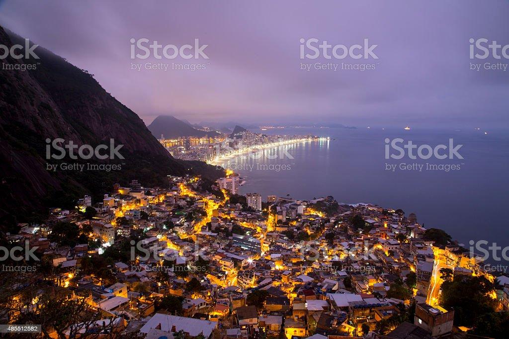 Nightfall over Rio de Janeiro, Brazil stock photo