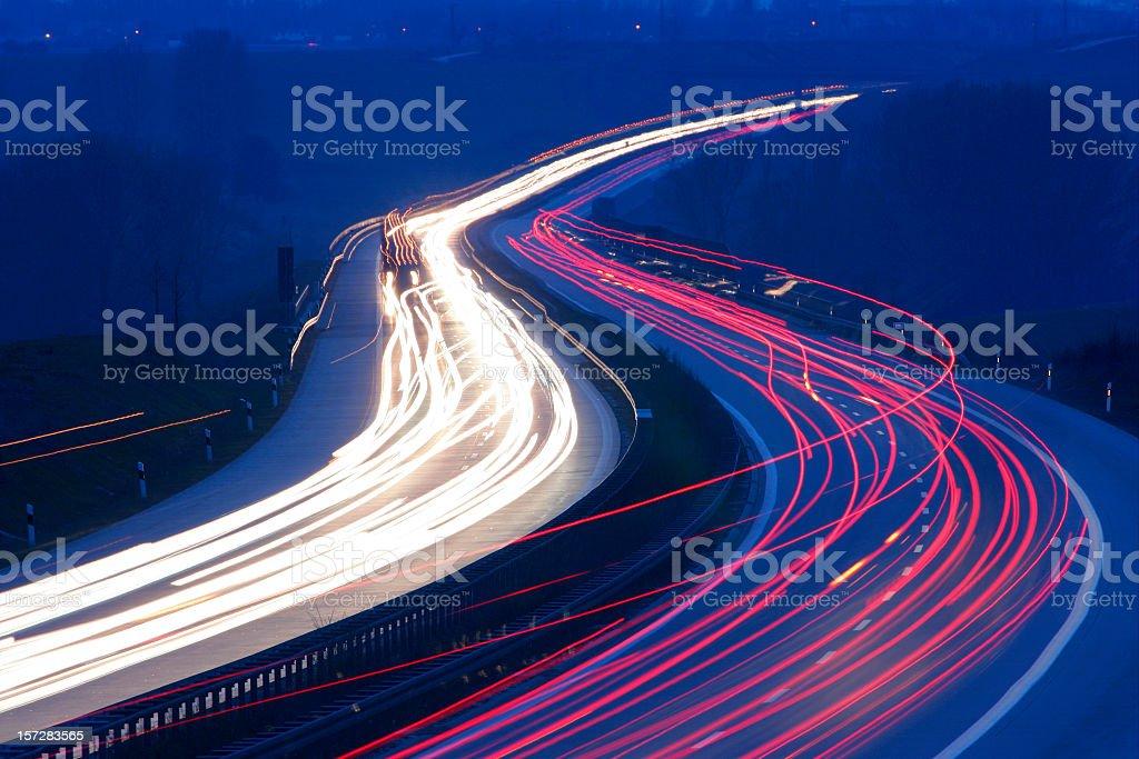 Nightfall Traffic stock photo