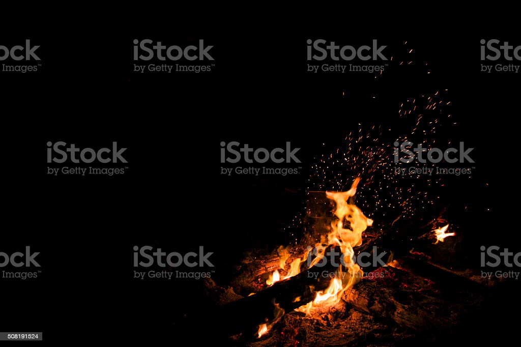 Nightime bonfire stock photo