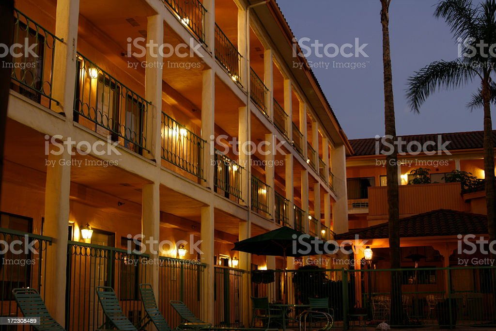 Nightime Hotel stock photo