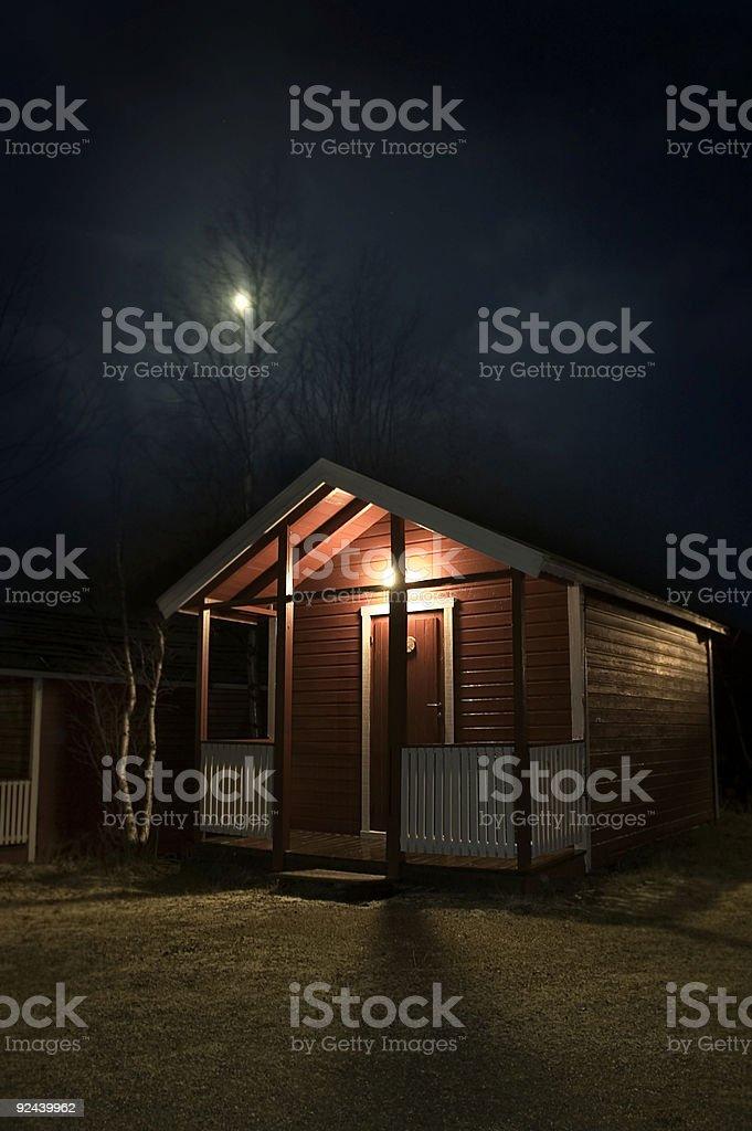 Nightime Hut, Norway royalty-free stock photo