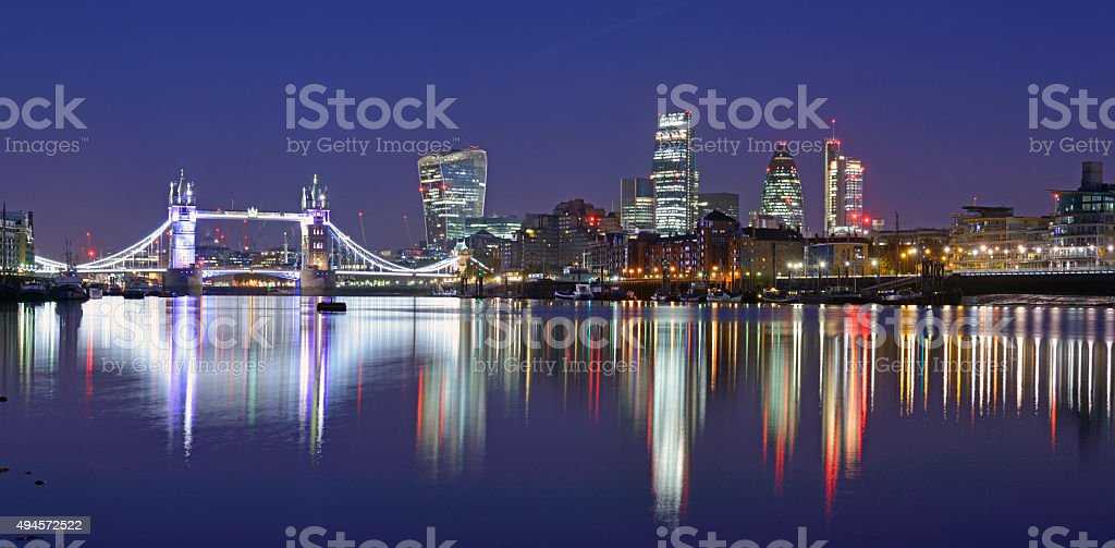 nightime London skyline And river view. stock photo