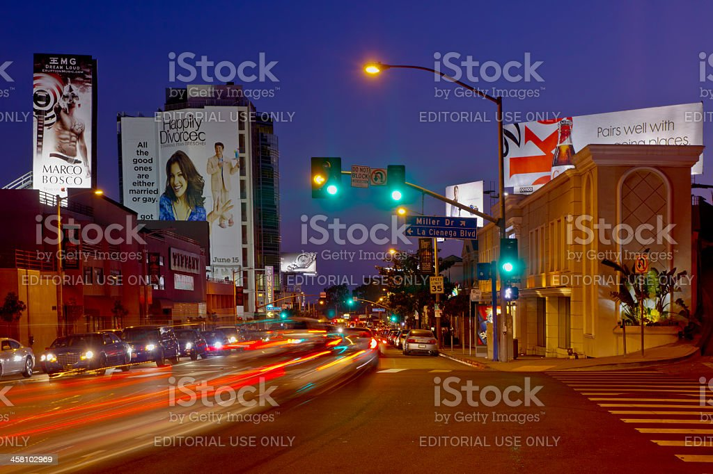 Nightime on the Sunset Strip In West Hollywood stock photo
