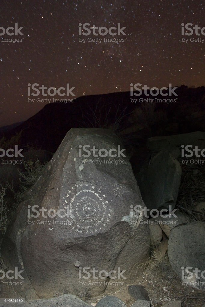 Nightime stars over Three Rivers Petroglyphs circles Alamogordo New Mexico stock photo