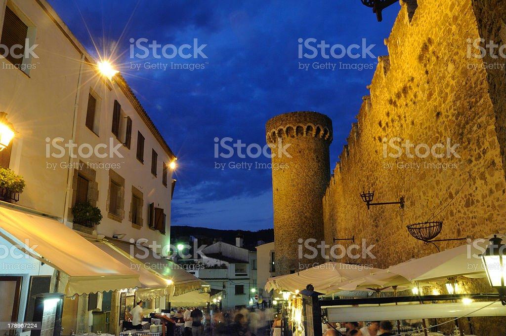 nightlife  at Tossa De Mar ,  costa brava, Spain stock photo