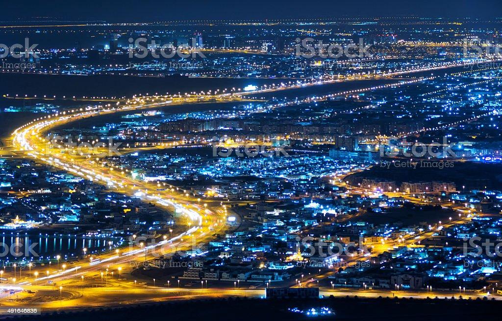 Nightlife in Dubai aerial shot stock photo