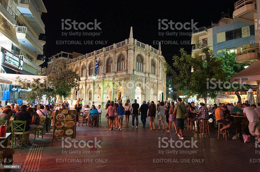 Nightlife  in Heraklion on the Crete island, Greece. stock photo
