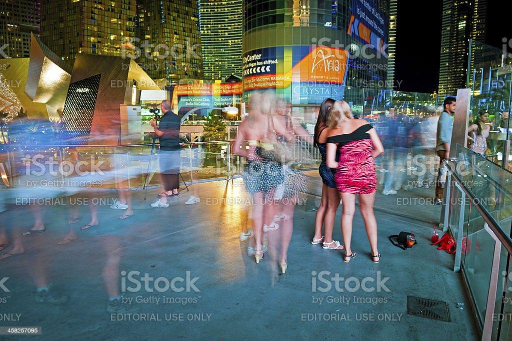 Nightlife in Las Vegas City Center at Night, Nevada, USA stock photo