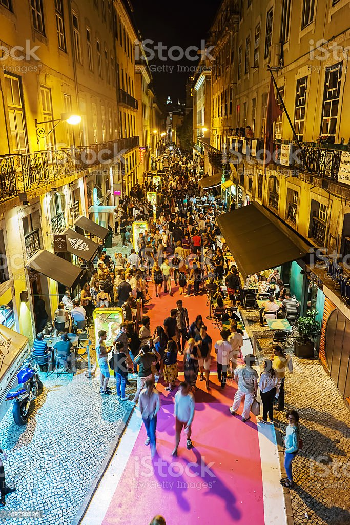Nightlife in Lisbon stock photo