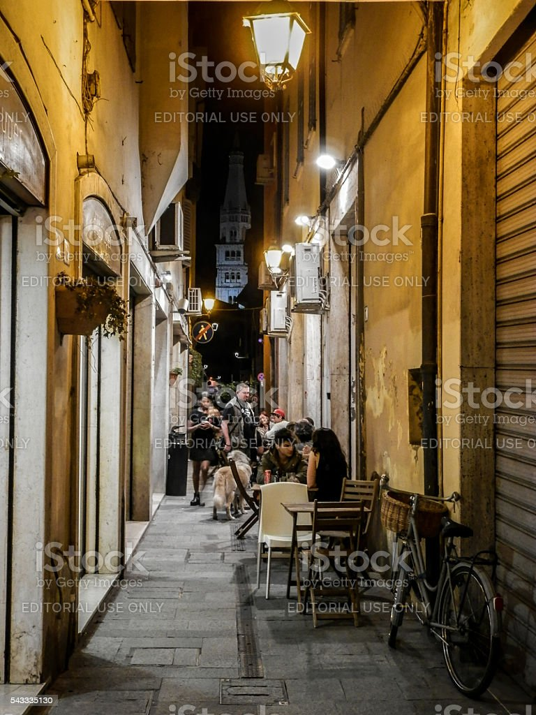 Nightlife in Modena (Italy, Europe). stock photo