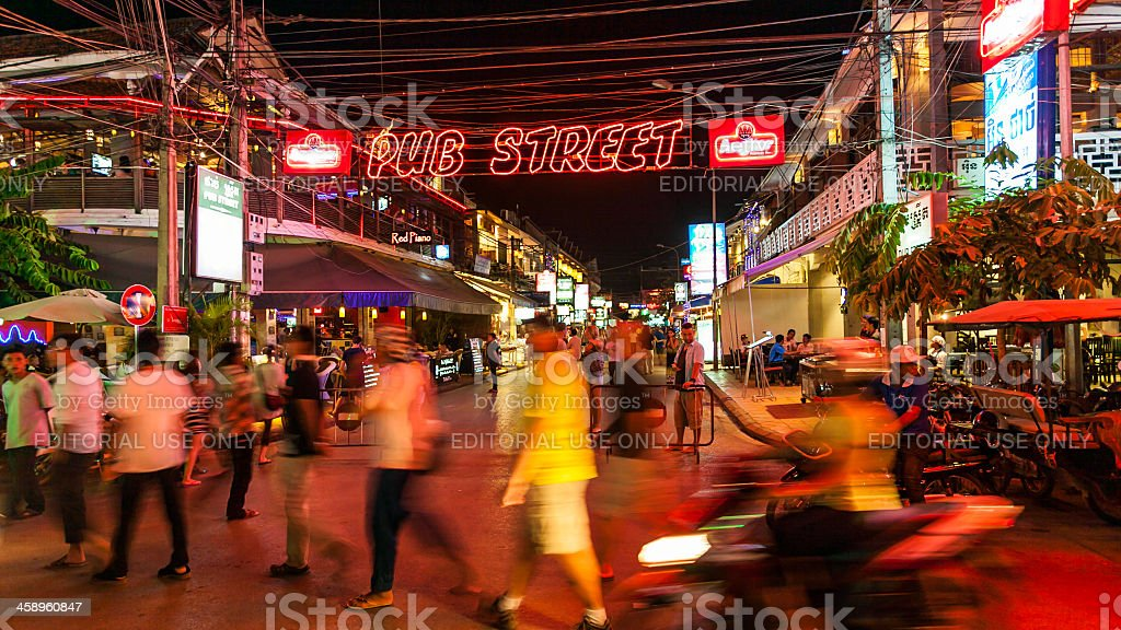 Nightlife in Siem Reap, Angkor, Cambodia stock photo