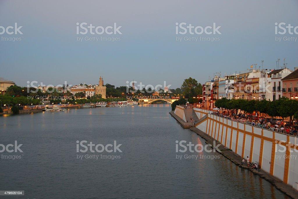 Nightlife in the city of Sevilla in Spain. stock photo