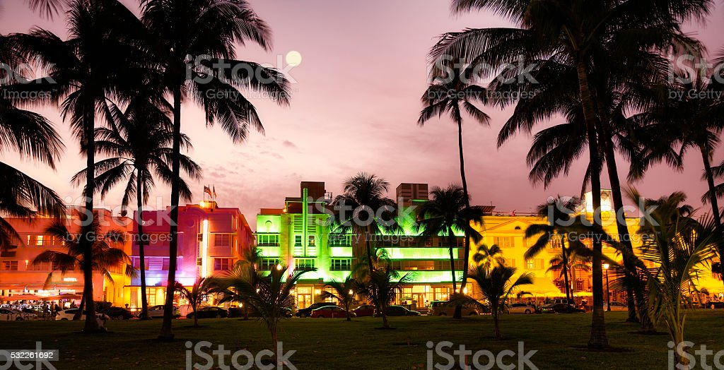 Nightlife in the moonlight, Ocean Drive, Miami stock photo