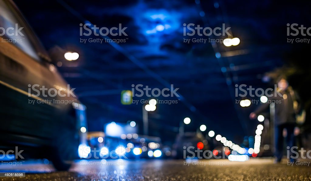 Nightlife, man catches a taxi voting stock photo