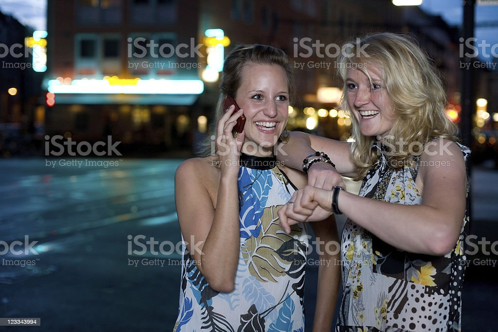 Nightlife Portrait Series: Two Young Women royalty-free stock photo