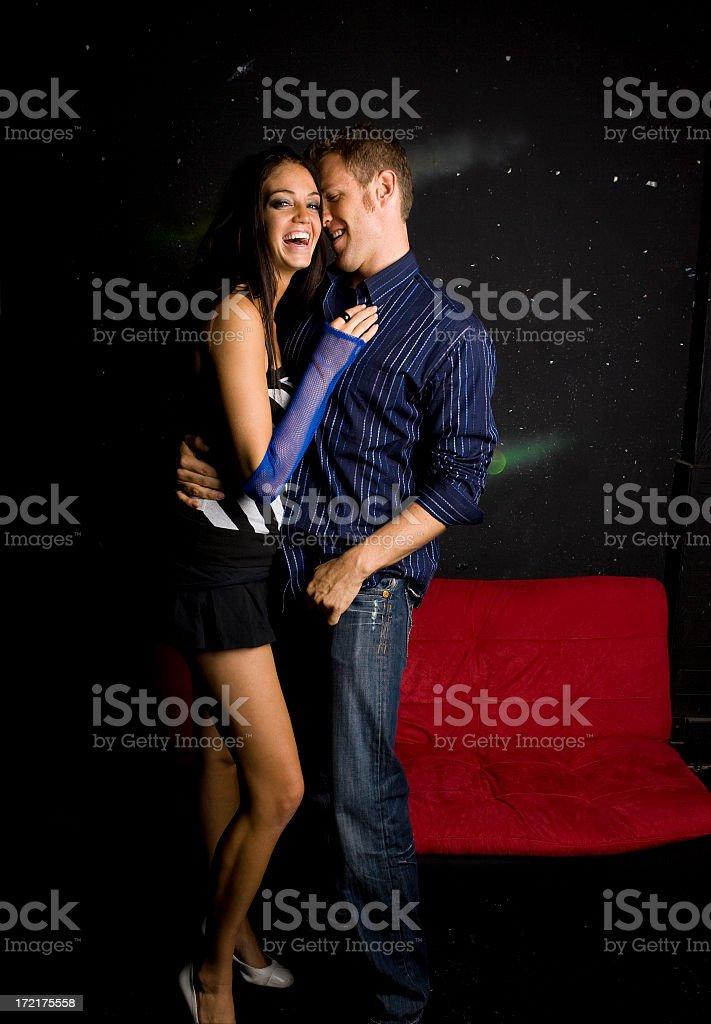 Nightlife Series-Couple Flirting in Lounge royalty-free stock photo