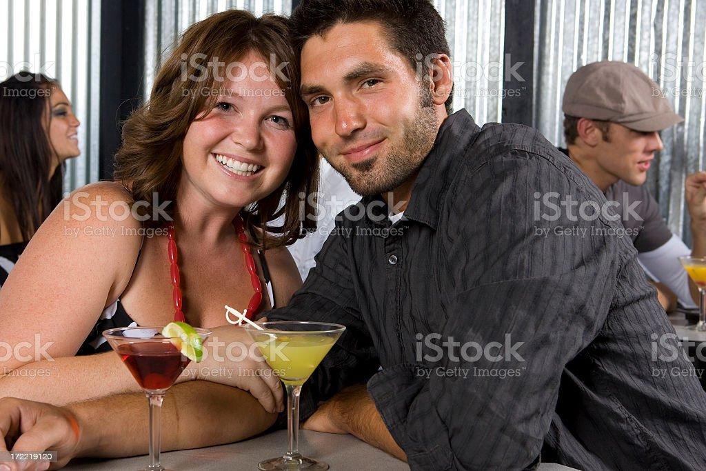 Nightlife Series-Happy Couple at Bar royalty-free stock photo