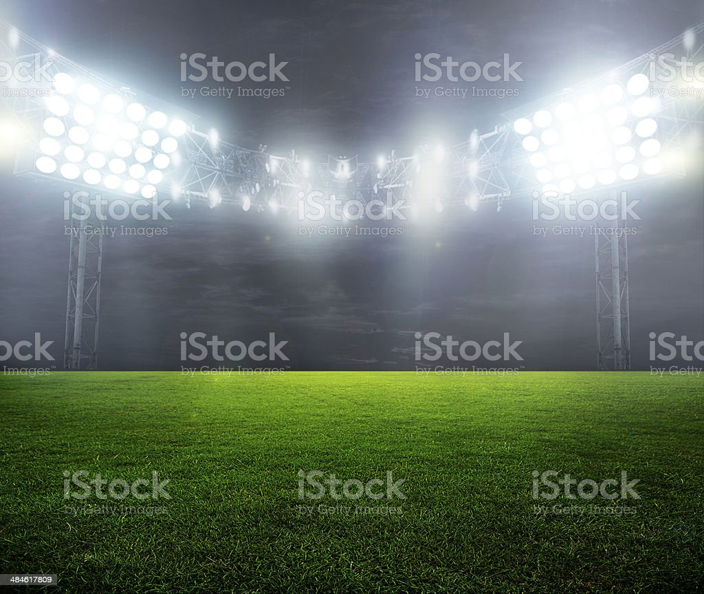 night-lit stadium stock photo