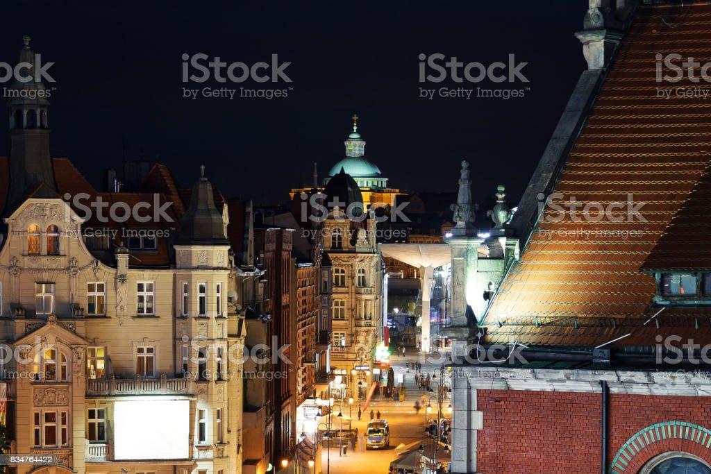 Nightly air view panorama of Katowice, Poland stock photo