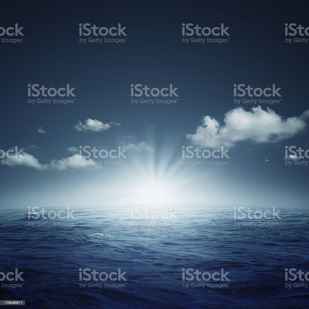 Nightly ocean. stock photo