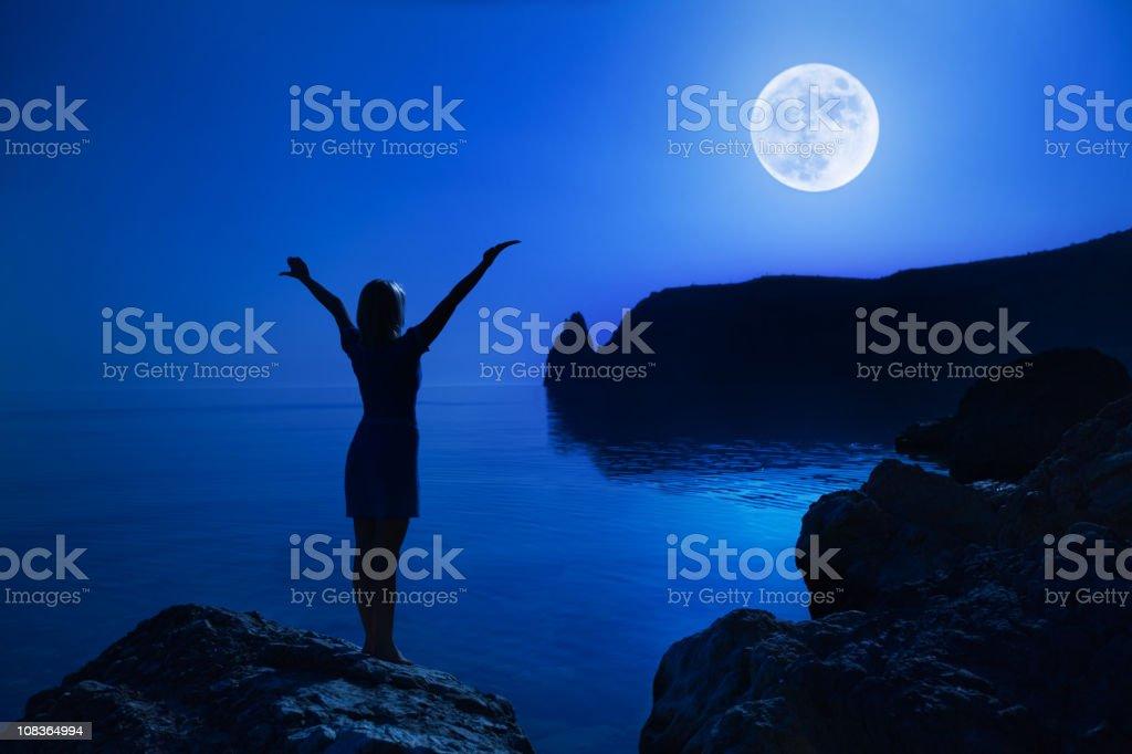 Nightly praying stock photo